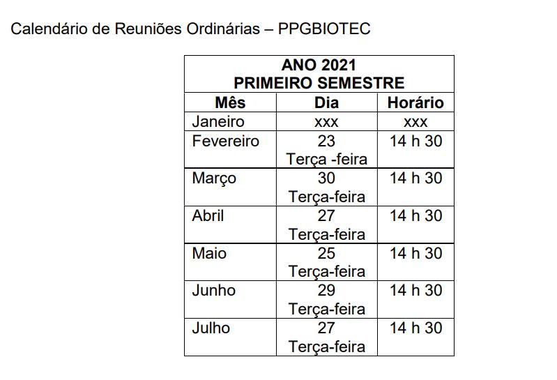 Calendário de Reuniões Ordinárias 2021/1