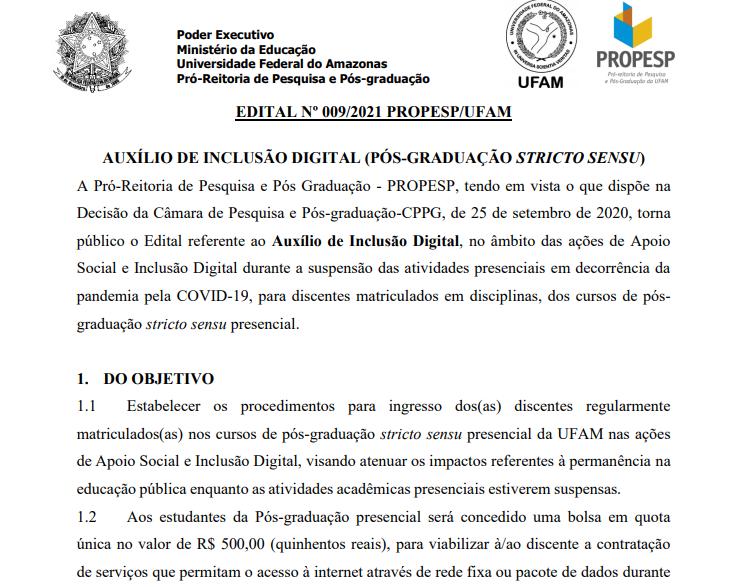 Auxílio de inclusão digital (pós-graduação stricto sensu)