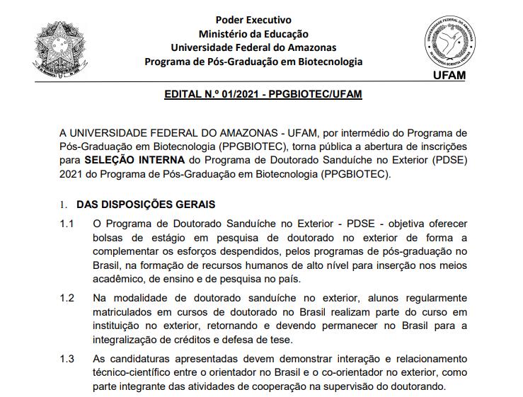 Programa de Doutorado Sanduíche no Exterior (PDSE) 2021