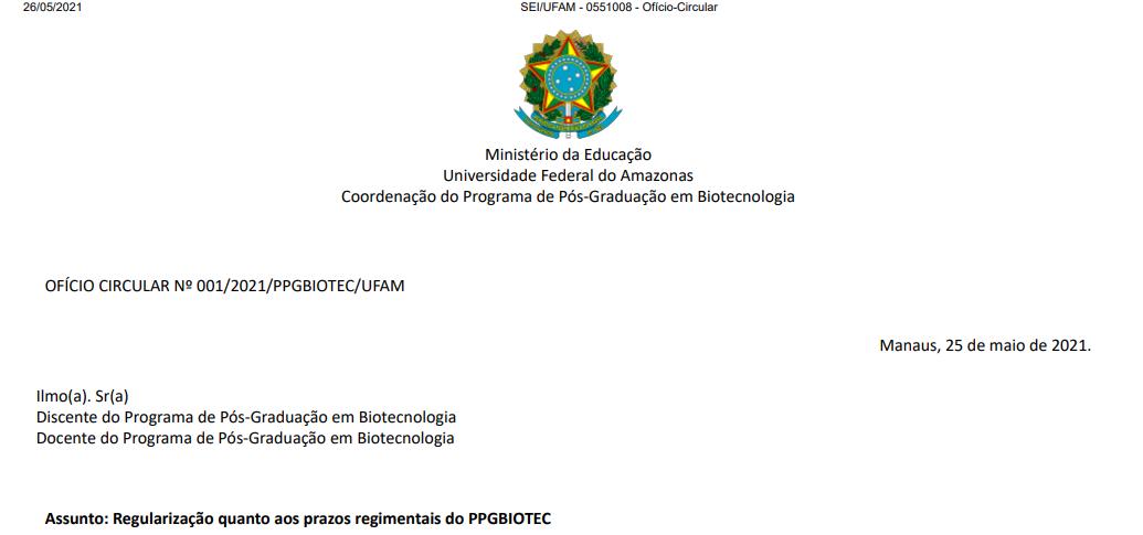 Regularização quanto aos prazos regimentais do PPGBIOTEC