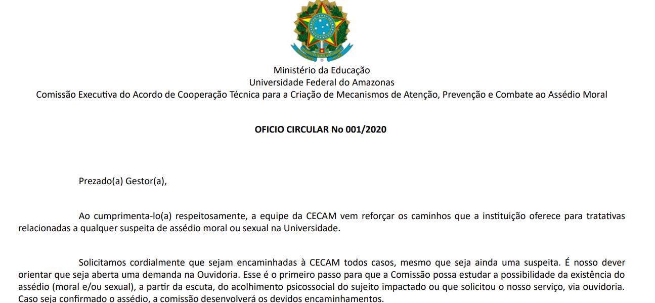 OFICIO CIRCULAR N 001/2020 - Combate ao Assédio Moral