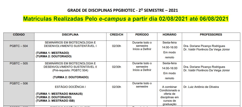 Grade de Disciplinas 2021/2