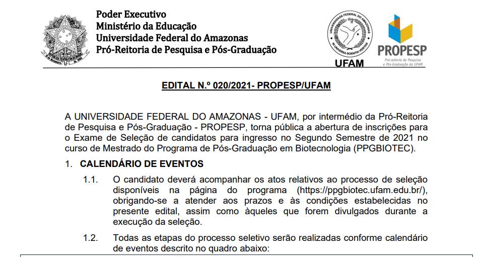 Processo Seletivo Mestrado e Doutorado 2021